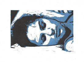Sleep - Aqua-lino-printcolour on paper - 14x21cm (21x28,3cm)