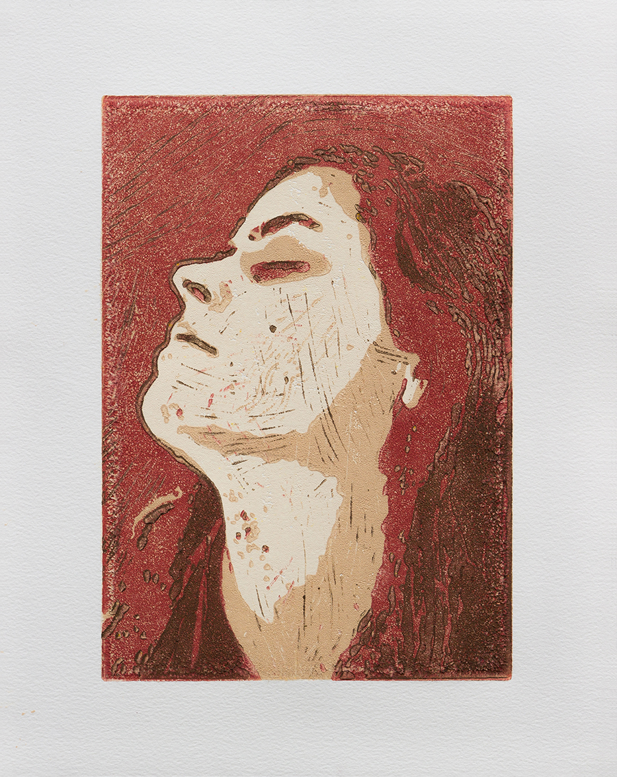 Her - Aqua-lino-printcolour on paper - 21x30 cm (31,8x40,1cm)